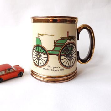 Vintage Veteran Car 1 pint Ale Mug, Male Gift, Beer Tankard, Large Coffee Cup, Fathers Day, Gibsons, Motor Wagon, Car Decor, Man Cave