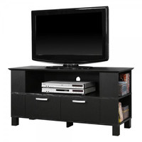 "44"" Wood TV Stand with 2 Drawers (Black) (24""H x 44""W x 16""D)"