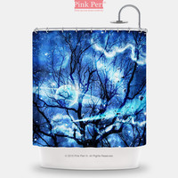 Woods Silhouette Blue Nebula Galaxy Shower Curtain Home & Living Bathroom 065