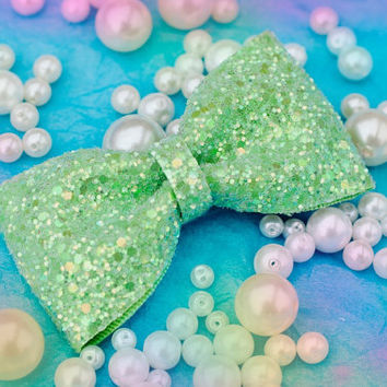 Pastel Apple Green Glitter Hair Bow Sparkly Cute Kawaii Glitter Bow