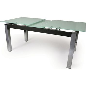 Monaco Extendable Dining Table Chrome White Glass Top