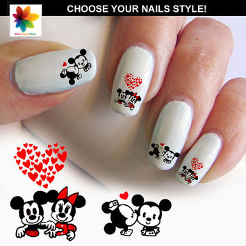 Baby Mouse in love, Disney nail art, cartoon, nail art, mickey mouse, 60 Waterslide stickers Decal Nail, nails crystal clear background,