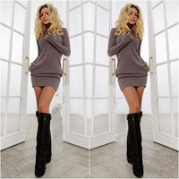 Spring Fall Casual Long Sleeves Package Hip Short Sweater Dress Day-First™