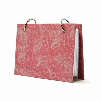 3 x 5 index card binder, glitter pink with swirls and hearts design, recipe binder, daily journal, index card memory book