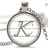 K Initial Necklace, The Letter K Art Pendant, Cursive School Handwriting Charm, Alphabet Necklace (047)