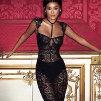 Hermesse Black lace collar dress with briefs B&B