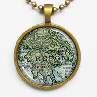 Custom Map Necklace -Greece & Athen- Vintage Map Series