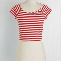 Nautical Short Length Short Sleeves Cropped Roller Derby Date Top in Red