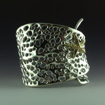 Sea Fan Coral Cuff Bracelet with 14k Yellow Gold Starfish
