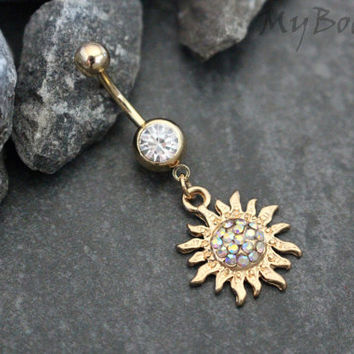 Sun Belly Button Ring, Belly Button Rings Sun, Gold Navel Piercing Jewelry, Dangle Navel Hoop, Flaming Sun, Boho, Aurora Borealis Crystals