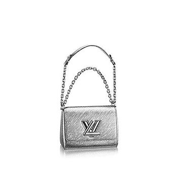 Authentic Louis Vuitton Epi Leather Twist PM Purse Handbag Article: M50323 Argent Made in France