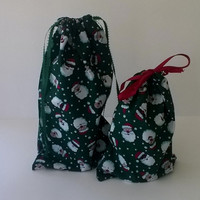 Cute Santa Claus Gift Bags Christmas, Upcycled Fabric, Reusable