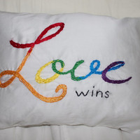 Gay Pride Pillow, Gay Wedding Gift, Lesbian Wedding Gift, Love Pillow, Rainbow Pride Pillow, LGBT Pride Pillow, Bedroom Decor, Home Decor