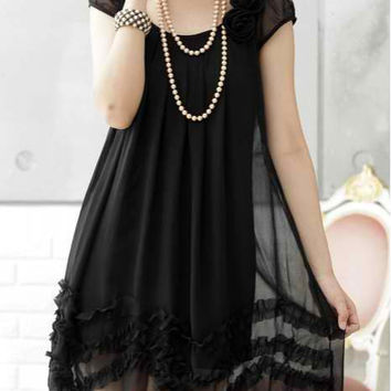 Black Ruffled Short Sleeve Chiffon Mini Dress