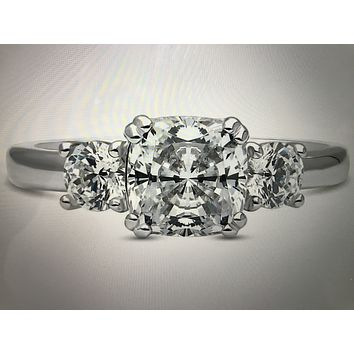 3.4TCW Cushion Cut Russian Lab Diamond Journey Ring