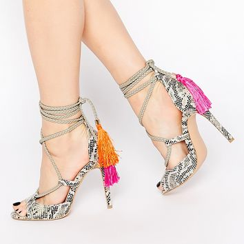 Daisy Street Tassel Ghillie Lace Up Heeled Sandals at asos.com
