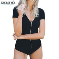 Women Bodysuit Stretch Leotard Short Sleeve Striped Zipper Shirt Beach Wear TNN#