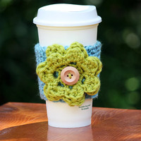 Light Blue with Bright Green Flower Cup Cozy, Coffee Sleeve
