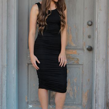 Make You Miss Me Midi Dress - Black