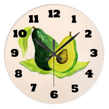 Green Avocado Still Life Fruit in Watercolors Large Clock