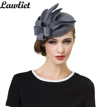 A302 Women Wool Felt Pillbox Fascinator Wedding and festival Hat Fedoras vintage Party Gray Hats with fascinating Floral design