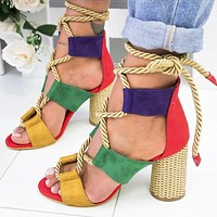 Gladiator Hemp Rope High Heel Sandals