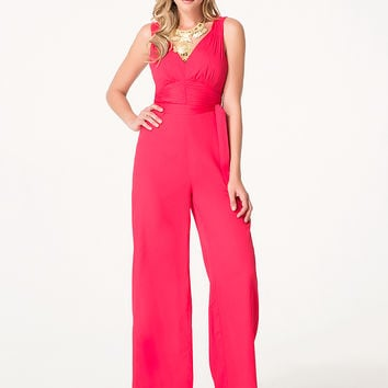 bebe Womens Shirred Crepe Jumpsuit Barberry