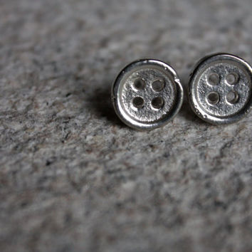 Silver Button Earrings / Hand made Sterling Silver studs