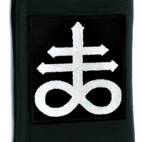 Crux Satanus Leviathan Cross Tri-fold Wallet w/ Chain Occult Clothing Black Sulphur