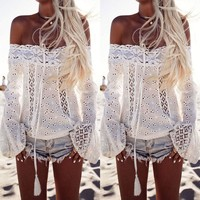 Women's Summer Off Shoulder Shirts Long Sleeve Casual Blouse Lace Tops T-shirts