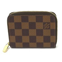 Auth Louis Vuitton Damier Ebene Zippy Coin Purse Coin Case Brown N63070 - y12906