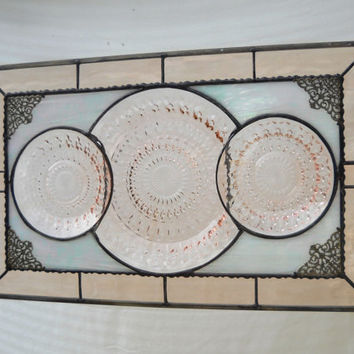 Stained Glass Panel, Pink Depression Glass Window Transom with Jeannette Holiday Plates