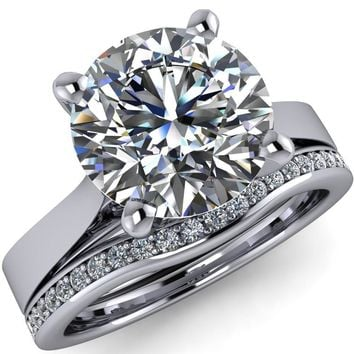 Freya Round Moissanite Cathedral Set Surprise Diamond and Filigree Design 4 Prong Solitaire Engagement Ring