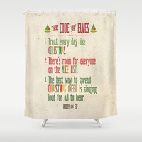 Buddy the Elf! The Code of Elves Shower Curtain by Noonday Design   Society6