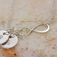 Personalized Infinity necklace, Silver Infinity necklace with initial discs, Gift Initial Infinity Necklace, Mothers Grandma Family necklace