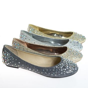 Clore10 By Bamboo, Women's Round Toe Ballet Flats with Iridescent Rhinestone Studs on Glitter Vamp