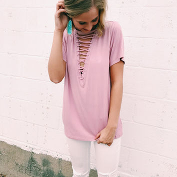 LaLa Lace Up Tee - Dusty Rose