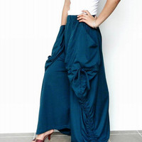 SALE30%OFF Aqua Marine - Harem Pant Or Skirt Convertible Long and Comfy. in Cotton Jersey.Thaisaket.