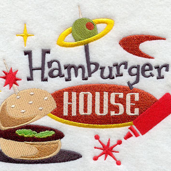 Hamburger House Retro Embroidered BBQ Apron Father's Day Gift, Birthday Gift, Host Gift