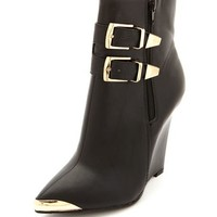 Double Buckle Metallic Toe Wedge Bootie: Charlotte Russe