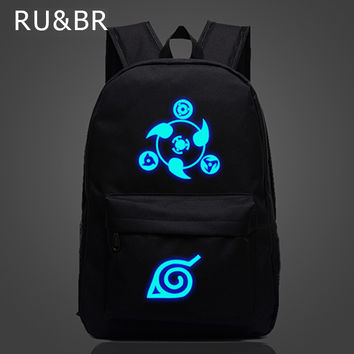RU&BR Naruto Luminous Rucksacks Japanese Anime Canvas Backpack Hokage School Travel Laptop Bags For Teenagers Bolsas Escolar