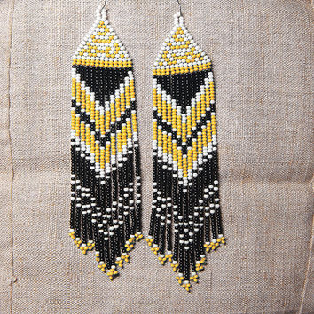 Beaded Native American Earrings  Inspired. White Black Yellow  Earrings. Beaded Dangle  Earrings. Long Earrings.  Beadwork.