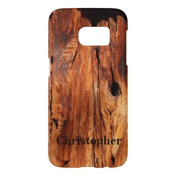Galaxy S7, Personalized, Faux Weathered Wood Samsung Galaxy S7 Case