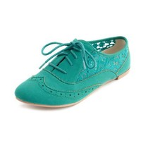 Sheer Lace Inset Nubuck Oxford: Charlotte Russe