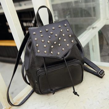 Studded Leather Soft Backpack