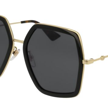 Gucci - GG0106S-001 Black Gold Sunglasses / Grey  Lenses