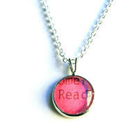 Read Sterling Silver Hot Pink LIMITED EDITION COLOR Mini Pendant Vintage Library Card Charm by The Written Nerd