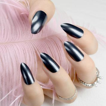Quality STILETTO Fake Nails Black Grey Shimmer Glitter Pattern False Nails Metallic Shine Manicure Tips Many Designs
