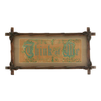 Victorian Embroidery Perforated Punched Paper Motto 1800s Adirondack Leaf Wood Frame