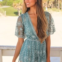 Dusty Teal Short Lace Romper